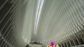 New York, NY, USA. Interior of the World Trade Center Transportation Hub. A station of the Path trains. A Famous landmark stock video footage