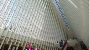 New York, NY, USA. Interior of the World Trade Center Transportation Hub. A station of the Path trains. A Famous landmark stock video