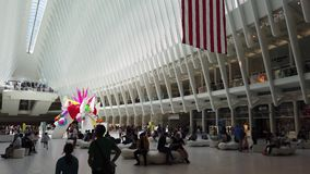 New York, NY, USA. Interior of the World Trade Center Transportation Hub. A station of the Path trains stock video