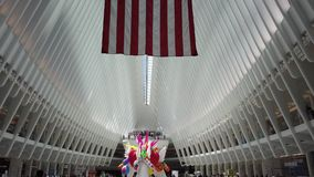 New York, NY, USA. Interior of the World Trade Center Transportation Hub. A station of the Path trains. A Famous landmark stock footage