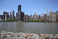 New York, NY, USA - MAY 23, 2019 - midtown manhattan view from roosevelt  Four Freedom park on Roosevelt Island, New York City stock image