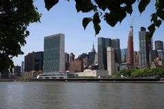 New York, NY, USA - MAY 23, 2019 - United Nations Headquarters in New York City. uptown new york city united nations complex. Unit. Ed Nations Building view from stock photo