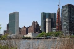 New York, NY, USA - MAY 23, 2019 - United Nations Headquarters in New York City. uptown new york city united nations complex. Unit. Ed Nations Building view from royalty free stock photo