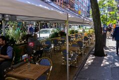 Free New York, NY / USA - September 19 2020: An Empty Outdoor Restaurant In East Village, Manhattan. Covid Outdoor Dining Royalty Free Stock Photos - 196908968
