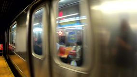 New York, NY, USA. The subway is approaching the station. POV, passenger point of view. Long train stock footage