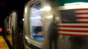 New York, NY, USA. The subway is approaching the station. POV, passenger point of view stock video