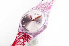 New York, NY, USA 07.10.2020 - Swatch swiss made quartz transparent case watch