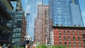 New York, NY, USA. Walking along the High Line in summer time. A famous landmark and a public park on the west side of Manhattan. Summer time stock footage