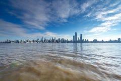 New York, NY/verenigde staat-Dec 26, de horizon van Manhattan van 2018 royalty-vrije stock foto's
