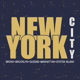 New York. NYC. Vintage apparel typography. Vector illustration. Royalty Free Stock Images