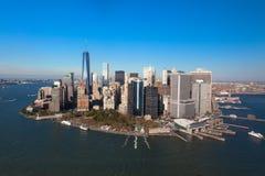 New York NYC NY skyskrapor Finansmitt av Manhattan USA royaltyfri foto
