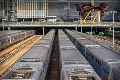 Trains at the terminus railway station, 30th St Terminal. New York, NYC, USA- August 30,2017: Trains at the terminus railway station, 30th St Terminal in the Royalty Free Stock Photography
