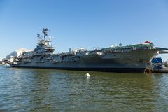USS Intrepid, Essex-class aircraft carriers, at the Intrepid Sea-Air-Space Museum. royalty free stock photos