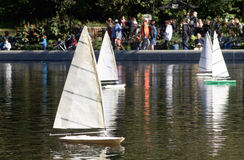 NEW YORK - OCTOBER 14, 2016 In Central Park`s lake remote-contro. Lled sailboats, Boat Pond Stock Images