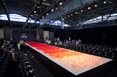 NEW YORK- OCTOBER 16: Empty runway for Claire Pettibone bridal show for Fall 2013 during NY Bridal Fashion Week Stock Images
