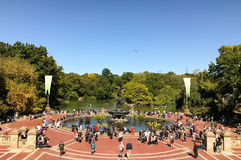 NEW YORK - OCTOBER 14, 2016 Historic Bethesda fountain in the he. Art of Central Park with  angel shaped statue on its top it attracts many tourists Stock Image