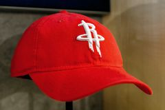 Houston Rockets hat. New York, October 20, 2017: Houston Rockets hat on sale in the NBA store in Manhattan Stock Image