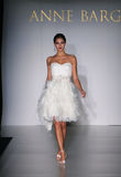 NEW YORK - OCTOBER 17: Model walking runway at the Anne Barge Bridal Collection Royalty Free Stock Photo