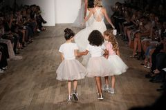 Models walk the runway finale for Blush by Hayley Paige Bridal show Fall/Winter 2018 Collection Stock Image