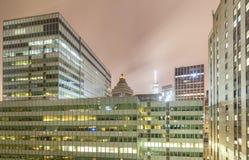 New York offices at night, Manhattan, USA Stock Photos