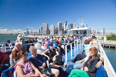 NEW YORK - The open deck Governors Island Ferry Royalty Free Stock Images