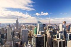 New York - orizzonte dalla cima della roccia immagini stock libere da diritti