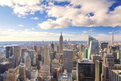 New York - orizzonte dalla cima della roccia fotografia stock libera da diritti