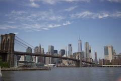 New-York - Panorama of Brooklyn bridge Stock Images