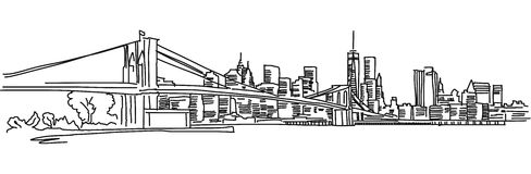 New York Panorama with brooklyn bridge. Vector outline Sketch Stock Image