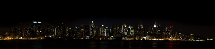 New York Panorama - Manhattan Sky Line at Night Stock Photos