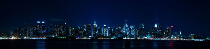 New York Panorama - Manhattan Skyline. At Night seen from New Jersey, New York City, New York, United States of America Stock Photography