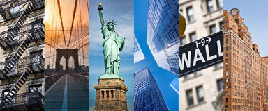 New York, panoramic photo collage, New York landmarks travel and tourism concept. New York, panoramic photo collage, New York landmarks, travel and tourism Stock Images