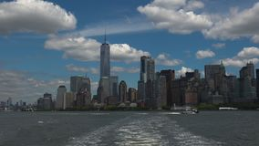 NEW YORK: Panoramic view New York City seen from a vessel, real time, ultra hd 4k stock video footage