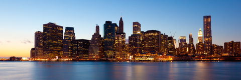 New York - Panoramic view of Manhattan. Skyline by night Royalty Free Stock Images