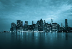 New York - Panoramic view  of Manhattan Skyline by night Royalty Free Stock Image