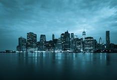 New York - Panoramic view  of Manhattan Skyline by night Royalty Free Stock Image