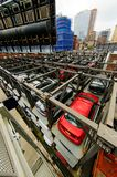 New York parking lots. Crowded New York City multi story automated parking lots filled with automobiles Stock Images