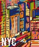 New York Paysage tiré par la main coloré abstrait de ville de nuit illustration stock