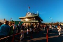 New York Pier 83 line. New York Pier line US national flag editorial Stock Image