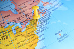 New York pinned on a map of America.  royalty free stock photography