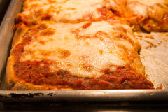 New York Pizza. Delicious authentic New York style Sicilian pizza   in pan Stock Photos