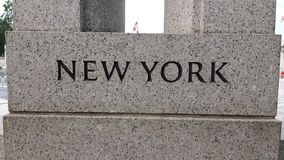 New York. Plaque at World War 2 Memorial. The memorial was so beautiful... I could stare at that fountain forever royalty free stock photo