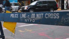 New York Police Barricade Blocks Street Near Trump Tower. 7978 NEW YORK - Circa December, 2016 - A temporary NYPD barricade blocks the sidewalk near Trump Tower stock video