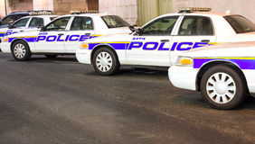 New York police cars in a row Stock Photo