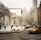 New York City taxi and people by Central Park Stock Photos