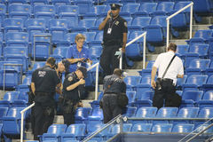 New York Police Department investigates incident involving drone during  match at US Open 2015 Royalty Free Stock Image