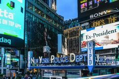 New York Police Department Times Square Precinct. New York, USA - 28 September, 2016: New York Police Department Times Square Precinct against Bright Lights Royalty Free Stock Photos