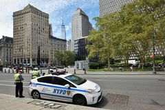 New York Police Department vehicle, NYC. NYPD New York Police Department vehicle on the street in Manhattan on August 23, 2017 in New York City, NY. Manhattan is Stock Photos