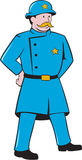 New York Policeman Vintage Standing Cartoon Royalty Free Stock Images