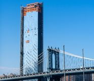 New York, ponte di Brooklyn, Lower Manhattan, U.S.A. immagini stock libere da diritti